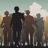 Illustrated silhouettes of armed soldiers walking together