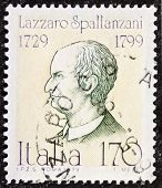 ITALY - CIRCA 1979: a stamp printed in Italy celebrates Lazzaro Spallanzani (1729 - 1799), Italian Catholic priest, famous biologist and physiologist. Italy, circa 1979