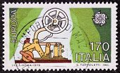ITALY - CIRCA 1979: a stamp printed in Italy celebrates the European Idea showing an old telegraph m
