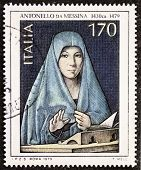ITALY �?�¢?? CIRCA 1979: a stamp printed in Italy celebrates the fifth centenary of the dead of A