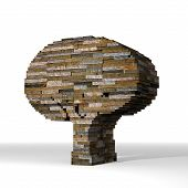3D Graphic Of A Eco Abstract Tree Symbol  Built Out Of Stones