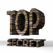 3D Render Of A Strong Top Secret Symbol  Built Out Of Stones