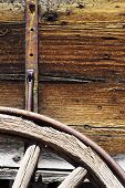 foto of wagon wheel  - Wooden Wagon Details. Wood Wheels Wagon. American Pioneers Photo Collection. ** Note: Shallow depth of field - JPG