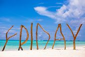 Word Friday Made Of Wood On Boracay Island Background Turquoise Sea
