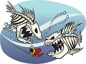 stock photo of skeleton  - A pair of wicked cartoon skeleton fish - JPG
