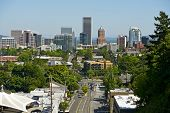 stock photo of portland oregon  - Portland Skyline in Mid Summer  - JPG