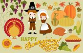 Thanksgiving Symbols and Icons, including pilgrims, turkey, corn, grapes, pumpkins and pumpkin pie,