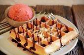 Waffle With Scoop Of Strawberry Sherbet Ice Cream