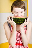 Girl With Short Hair Eating Ripe Juicy Watermelon