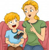 Illustration of a Mom Giving Her Son a Few Reminders Before Letting Him Watch TV