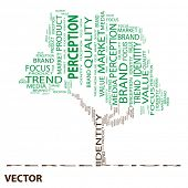 Vector eps concept or conceptual green perception tree word cloud on white background