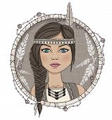 Cute Native American Girl And Feathers Frame.