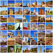 a collage of many pictures of different european landmarks, such as the Eiffel Tower in Paris, the C