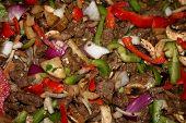 Fajita meat and vegetables