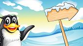 Illustration of a penguin beside the wooden arrow signboard