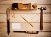 Desk of a carpenter with some tools