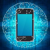 foto of smart grid  - Smart phone and sphere consisting of connections - JPG