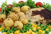 Healthy Food, Steak, Potatoes And Salad