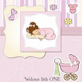 stock photo of snuggle  - baby shower card with little baby girl snuggled with her teddy bear toy - JPG
