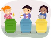 Illustration of Kids Segregating Trash