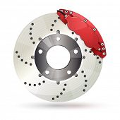 stock photo of calipers  - Brake disc with caliper - JPG