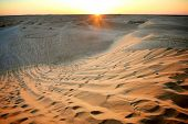 image of tozeur  - View at sunset on the dunes of Ong Jemel in the Sahara Desert in Tunisia - JPG