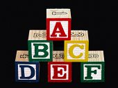 Alphabet Blocks (A-F) On Black