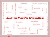 Alzheimer's Disease Word Cloud Concept On A Whiteboard