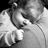 Little Baby girl sleeping in mothers arms - Lifestyle instragram