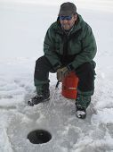 Happy Man Ice Fishing