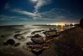 seascape in summer - long exposure image