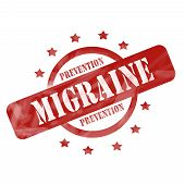 Red Weathered Migraine Prevention Stamp Circle And Stars Design