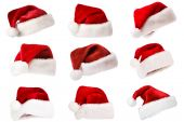 Set of Santa Hats Isolated On White