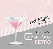 Pink cocktail - vintage poster design