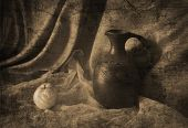 Still life with a jug and Pears in the old Armenian style in sepia