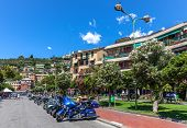 RECCO, ITALY - JULY 25, 2010: Motorcycles on central pedestrian street in town of Recco - popular to