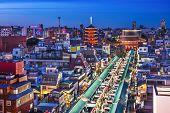 Tokyo, Japan cityscape in the Asakusa district over Senso-ji Temple.