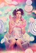 nice candy-girl with sweets
