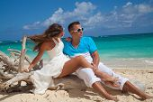 Just-married Couple On Tropical Beach