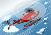 Isometric Arctic Emergency Helicopter In Flight In Rear View