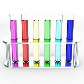 Colorful test tubes, 3d