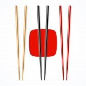 Red, black, wooden chopsticks. Vector.