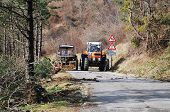 Tractors Clearing Rime Damaged Trees