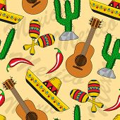 stock photo of guitar  - seamless background with Mexican sombreros - JPG