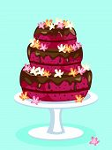 stock photo of red velvet cake  - Red velvet cake with chocolate icing and flowers - JPG