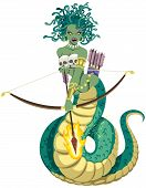 stock photo of medusa  - The mythical Gorgon Medusa on white background - JPG