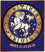 Aries Zodiac Sign.horoscope Circle.retro Illustration