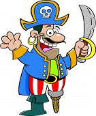 pic of peg-leg  - Cartoon illustration of a pirate holding a sword and waving - JPG