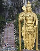 Lord Murugan Statue At Batu Caves Entrance