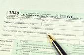 closeup of us tax form